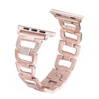 Secbolt Bling Band Compatible Apple Watch Band 42mm 44mm iWatch Series 4, Series 3, Series 2, Series 1, Diamond Rhinestone Stainless Steel Metal Wristband Strap, Rose Gold